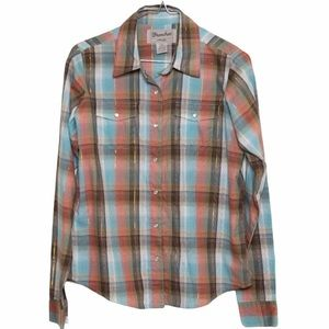 Wrancher by Wrangler Blue Plaid Snap Button Top
